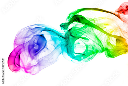Foto op Canvas Rook Colored smoke on white