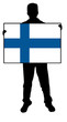 vector illustration of a  man holding a flag of finland