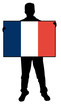 vector illustration of a  man holding a flag of france