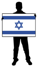 vector illustration of a  man holding a flag of israel
