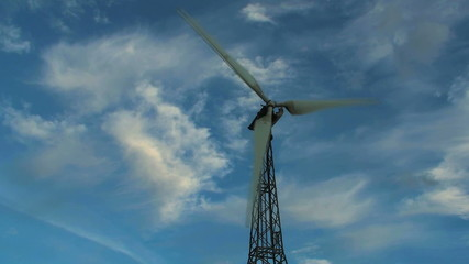 Low angle shot of single wind turbine - HD