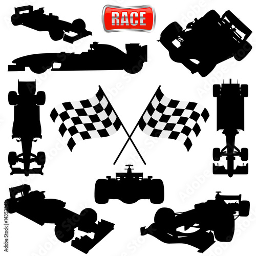 formula cars, flag and icon