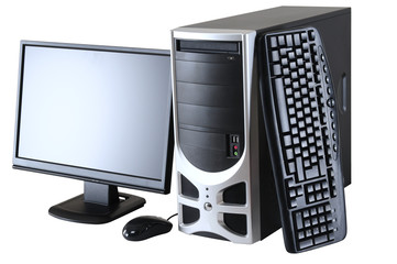 Desktop Computer. Clipping path.