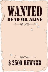 Poster about search of the criminal in style of the wild West