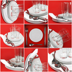 Collage of glasses, plates, covers on red  background