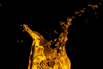 abstract molten metal. Black background