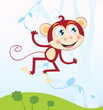 roleta: Jungle monkey. Funny animal. Vector Illustration.