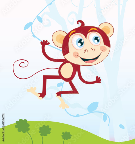 Photo: Jungle monkey. Funny animal. Vector Illustration. © lordalea ...