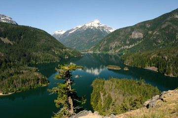 Diablo lake and Davis Peak at North Cascades
