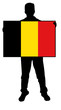 vector illustration of a  man holding a flag of belgium