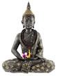 Bouddha avec chapelet de prière et fleur d'orchidée