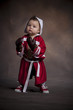 Little boxer with gloves and robe