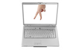 "Isolated Laptop Screen and a hand showing ""walking fingers"""