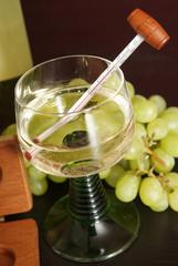 Weinglas mit Thermometer