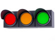 horizontal traffic lights on white background