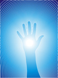 Healing hand with reiki lines poster
