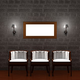 Three chair with empty frame and sconces in dark minimalist inte poster