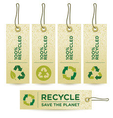 Vector GREEN RECYCLED Labels