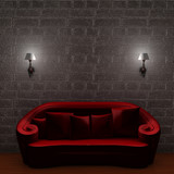 Red couch with empty frame and sconces in minimalist interior poster