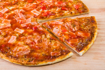 pizza on wooden chopping board