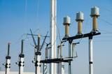 high-voltage substation on blue sky background poster