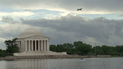 Plane Takes Off Behind Jefferson Memorial