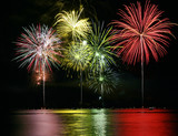 Colorful Fireworks over Lake