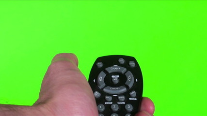 Remote against green screen with static - HD