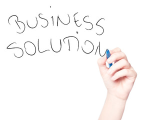 "Hand drawing ""Business Solution"" in whiteboard isolated on white"