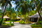 Bungalows and pathway, flowers and trees poster