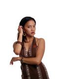 Young latina woman in brown dress half-length poster