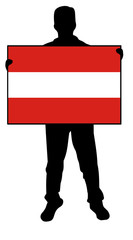 vector illustration of a man holding a flag of austria