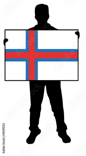 illustration of a man holding a flag of faroe islands