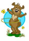 little cartoon bear improve hula hooping technique poster