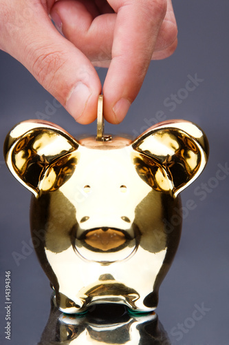 Hand drooping a coin in a pig bank