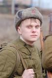 Soviet soldier of WW2. Reenacting. Kiev,Ukraine poster
