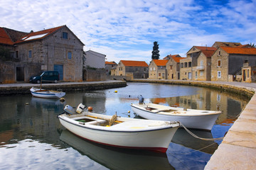 mediterranean town parted with channel (Croatia, Hvar)