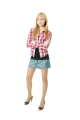 Full-Length Portrait Of A Young Casual Dressed Lady