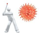 Hit the virus with baseball bat - metaphor poster