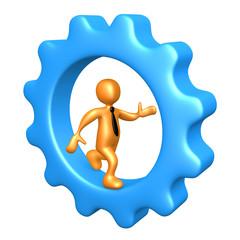 Businessman Running Inside A Cogwheel