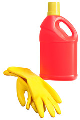 Cleaning products. Clipping path.