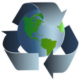 Recycle earth with blue arrows