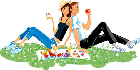 Pair enamored on picnic