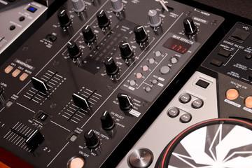 DJ's mixer and headphones