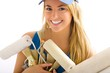 blonde girl and painting tools on withe background