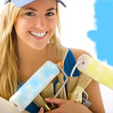 portait of blonde girl and painting tools