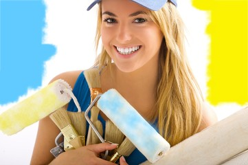 young blonde girl with blue and yellow paint