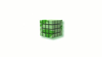 Explosion Cubes vert 3D ecologie mondiale