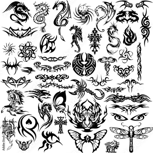 Tatouage Portugal Tribal. Tribal tattoo collage (vector)