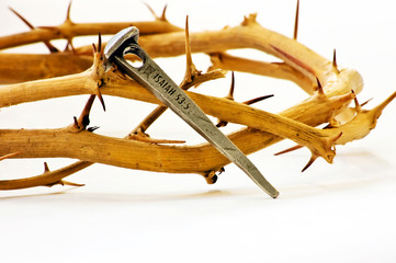 Crown of thorns with nail